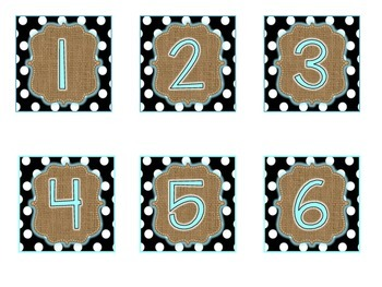 Turquoise, Burlap, and  Black and White Polka Dots