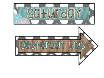 Turquoise, Burlap, and Gray Dots Classroom Decor Kit