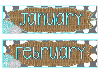 Turquoise, Burlap, and Gray Dots Classroom Decor Kit