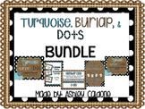 Turquoise, Burlap, and Black and White Dots Classroom Decor Kit - Bundle