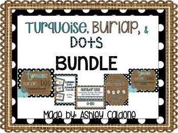 Turquoise Burlap And Black And White Dots Classroom Decor Kit
