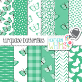 Turquoise Butterfly Digital Paper