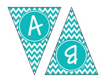 Turquoise Chevron Alphabet Banner Set (upper & lowercase, numbers 0-9)