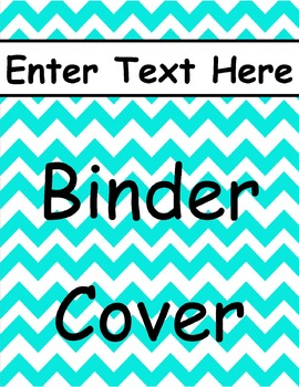 Turquoise Chevron Binder Cover 2