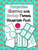Turquoise Chevron Burlap Classroom Decor Pack (EDITABLE!)