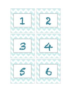 Turquoise Chevron Calendar Numbers