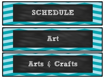 Turquoise Chevron Chalkboard Schedule Cards