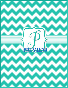 Turquoise Chevron Monogrammed Book Covers