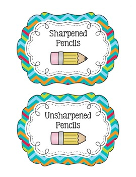 Turquoise Chevron Pencil Bucket Labels