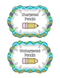 Turquoise Chevron Pencil Bucket Labels
