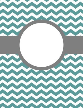 Turquoise Chevron with Grey Dividers - Blank