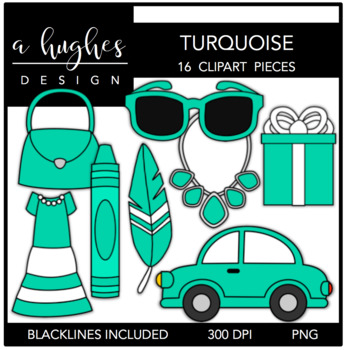 Turquoise Color Clipart {A Hughes Design}