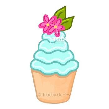 Turquoise Cupcake with Pink Flowers Printable Tracey Gurle