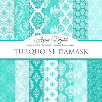 Turquoise Damask Digital Paper patterns ornate blue scrapbook backgrounds