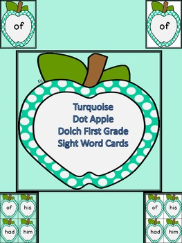 Turquoise Dot Apple Dolch First Grade Sight Word Flashcards and Posters