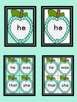 Turquoise Dot Apple  Dolch Primer Sight Word Flashcards and Posters