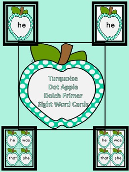 Turquoise Dot Apple  Dolch Primer Sight Word Flashcards an