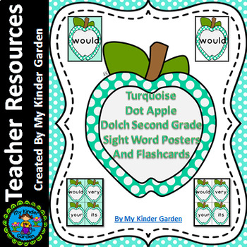 Turquoise Dot Apple Dolch 2nd Grd High Frequency Sight Word Flashcards & Posters