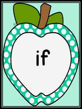 Turquoise Dot Apple Dolch Third Grade Sight Word Flashcards and Posters