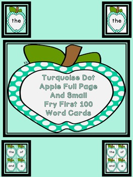 Turquoise Dot Apple  Fry First 100 Sight Word Flashcards and Posters
