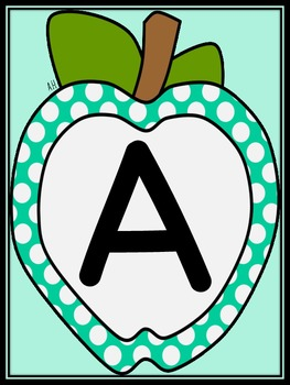 Turquoise Dot Apple Full Page Alphabet Letter Posters