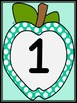 Turquoise Dot Apple Full Page Number Posters 0-100
