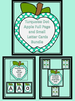 Turquoise Dot Apple Letter Flashcards and Posters Bundle