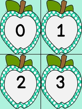 Turquoise Dot Apple Number Flashcards 0-100