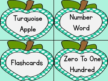 Turquoise Dot Apple Number Word Flashcards Zero To One Hundred