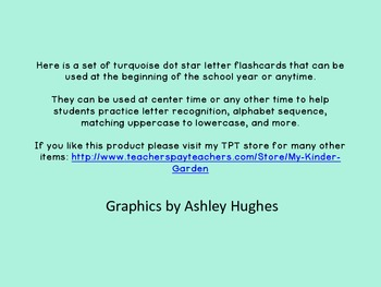 Turquoise Dot Star Alphabet Letter Flashcards