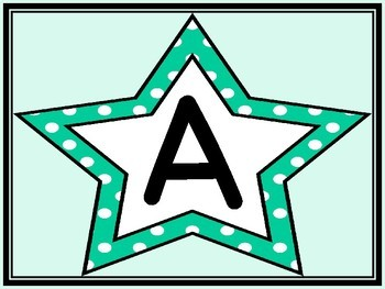 Turquoise Dot Star Alphabet Letter Posters / Word Wall Headers