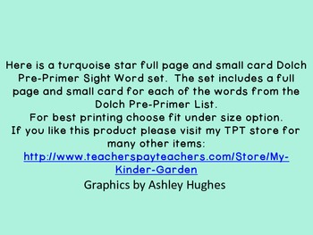 Turquoise Dot Star  Dolch Pre-Primer Sight Word Flashcards and Posters