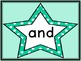 Turquoise Dot Star  Dolch Pre-Primer Sight Word Flashcards