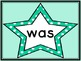 Turquoise Dot Star  Dolch Primer Sight Word Flashcards and Posters