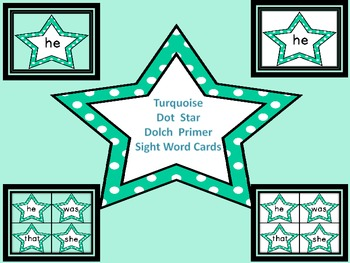 Turquoise Dot Star  Dolch Primer Sight Word Flashcards and