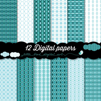 Turquoise Dream - 12 Digital Papers