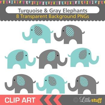 Turquoise Elephant Clipart, Teal & Gray Elephant Clip Art