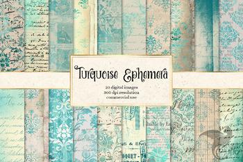 Turquoise Ephemera textures, digital paper backgrounds