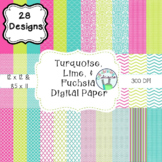 Turquoise, Fuchsia, and Lime Digital Paper