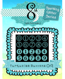 Turquoise Glitter Button Numbers 0 - 9