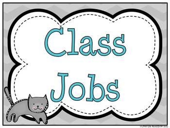 Turquoise & Gray Chevron Classroom Jobs Display & Clip Chart