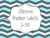 Turquoise & Gray Chevron Number Labels