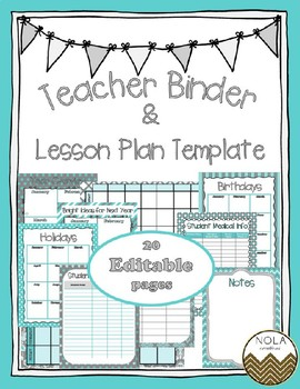 Turquoise Grey Teacher Binder/Lesson Plan Template- EDITABLE