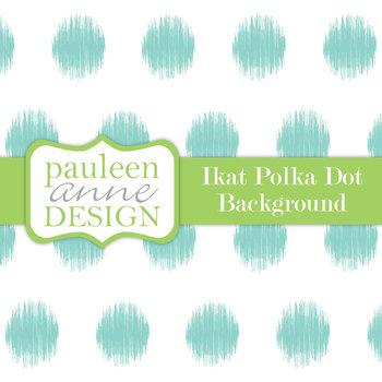 Turquoise Ikat Polka Dot Background