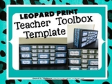 Turquoise Leopard Teacher Toolbox Template - Editable