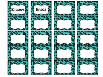 Turquoise Leopard Teacher Toolbox Template - Editable