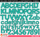 Turquoise Letters and Numbers Clip Art