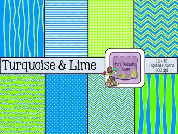 Turquoise & Lime {8-12x12 Digital Papers for Commercial Use}