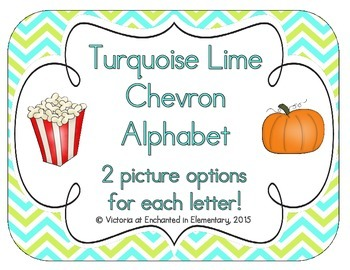 Turquoise Lime Chevron Alphabet Cards