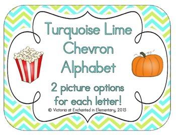 Turquoise Lime Chevron Alphabet Cards